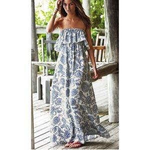 Strapless blue & white paisley sundress